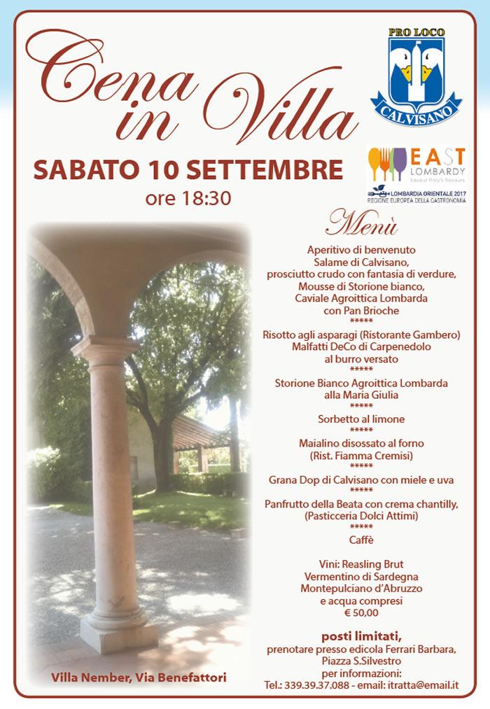 cena in villa a Calvisano